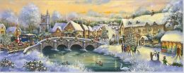 Country Village Panoramic Boxed Holiday Cards