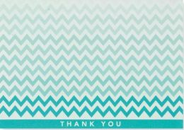 Chevron Blue Thank You Note Card Set of 14