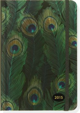 2015 Weekly Planner 5x7 Peacock Feathers Bound Engagement Calendar