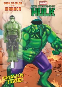 Marvel The Incredible Hulk Book to Color with Collectible Character Shaped Marker - Smashin' Time!