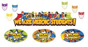 Super Power Heroic Students Bulletin Board Set