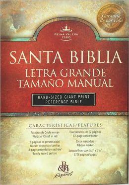 RVR 1960 Bíblia Letra Grande Tamaño Manual con Referencias, borgoña imitación piel