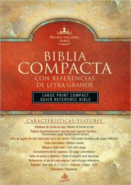 RVR 1960 Biblia Compacta Letra Grande con Referencias, borgona piel fabricada con cierre
