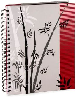 Red and Black Bamboo Zen Spiral Journal 8.5x11