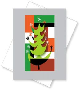 Tip-On Retro Tree Christmas Boxed Card
