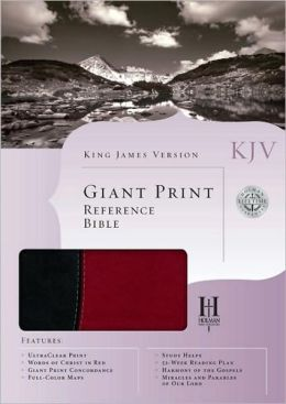KJV Giant Print Reference Bible, Black/Burgundy Simulated Leather