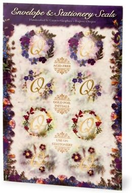 Initial Q Floral Foil Envelope Seals Set of 8