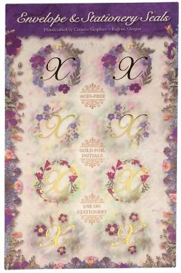 Initial X Floral Foil Envelope Seals Set of 8