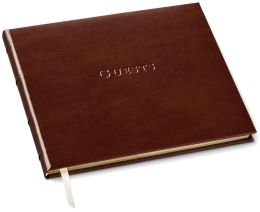 Acadia Tan Leather Guest Book 7x9
