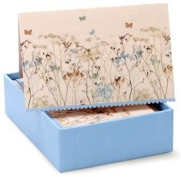 Blue Flowers and Gold Butterfly Boxed Notecards- Set of 14