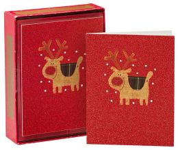 Full Glitter Red Nose Reindeer Christmas Boxed Cards