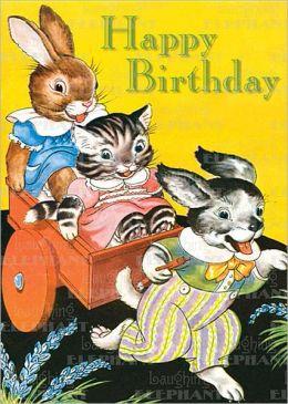 Rabbit, Cat & Dog - Birthday Greeting Card