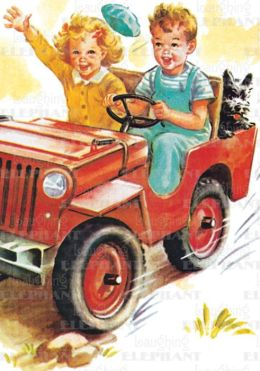 Boy & Girl Riding in Car - Romance Greeting Card