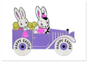 Bunnies on a Sunday Drive Easter Greeting Card