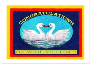 Swans and Heart Wedding Greeting Card