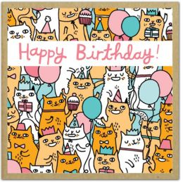 Birthday Cats: GreenGift-Notes -- Small Gift Encolsure Cards Printed on Uncoated and Ecologically Friendly Paper