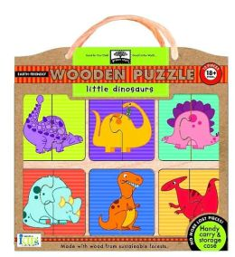 Green Start Wooden Puzzles: Little Dinosaurs - Earth Friendly Puzzles with Handy Carry & Storage Case