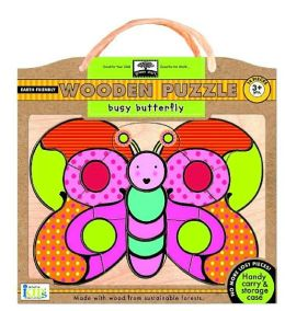 Green Start Wooden Puzzles: Busy Butterfly - Earth Friendly Puzzles with Handy Carry & Storage Case