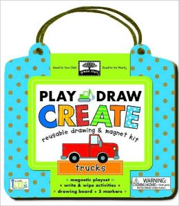 Green Start Play, Draw, Create Trucks: Reuseable Drawing & Magnet Kit