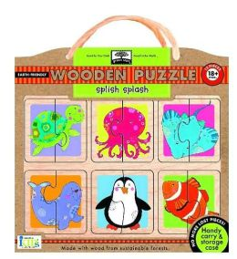 Green Start Wooden Puzzles - Splish-Splash: Earth Friend Puzzles with Handy Carry & Storage Case