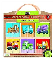 green start wooden-puzzles - tough trucks: Earth Friend Puzzles with Handy Carry & Storage Case