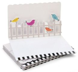 Pop-Up Boxed Notes birds on Fence Set of 8