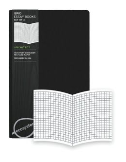 Ecosystem 100% Recycled Essay Grid Onyx Journal (5.2''x8.2'') Set of 3