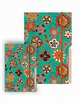 Multi-Colored Flowers on Teal Edgewise Medium Journal