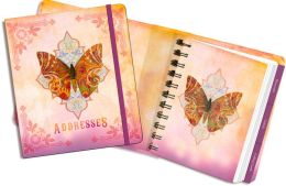 Sundara Butterfly Pink Spiral Address Book 5.5'' x 6''