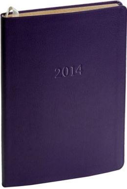 2014 Weekly Desk Purple Camden Leather Planner