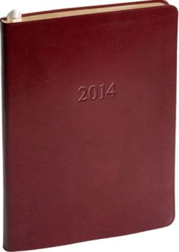 2014 Weekly Desk Red Acadia Leather Planner