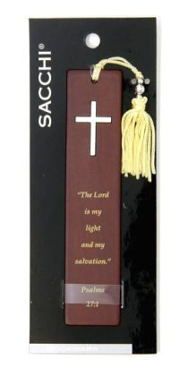 Metal Cross Bible Quote Wood Bookmark
