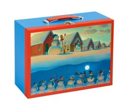Snowmen At Night Two Sided Puzzle in Suitcase