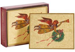 Weathervane Angel and Wreath Christmas Boxed Card