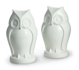 White Owl Resin Bookends - Set of 2 (7.25