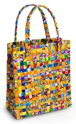 Recycled Juice Label Small Tote Bag- Assorted Colors (9.5