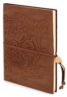 Chocolate Embossed Damask Italian Leather Lined Journal with Bead Tie 6 x 8