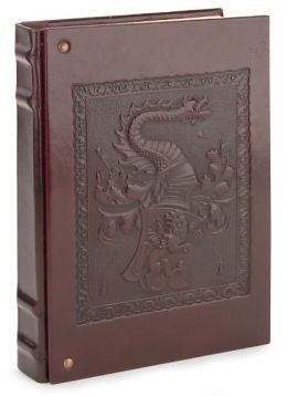 Patina Brown Dragon with Studs Embossed Italian Leather Lined Block Journal 7X10