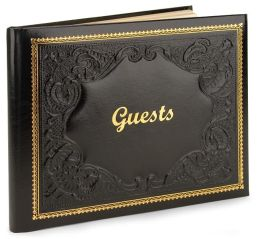 Black Gold Embossed Italian Leather Bound Guest Book 8.5 X 10.5