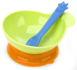Green Suction Based Baby Bowl and Spoon Feeding Set