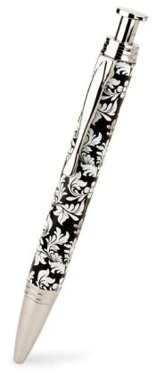 Jardin Black & White Damask Metal Ballpoint Pen