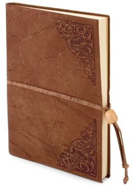 Old World Tan Embossed Italian Leather Lined Journal with Bead Tie (6'x8