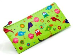 Wacky Birds Tweet Green Canvas Pencil Pouch 4 x 9