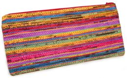 Multi Color Stripe Recycled Newspaper Pencil Pouch (9.75