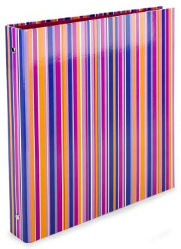 Pink Orange Stripe 3-Ring Binder