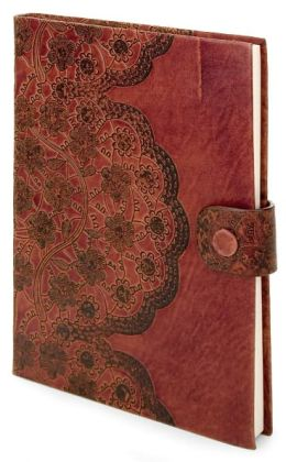 Brown Leather Antique Lace Embossed Lined Journal (6