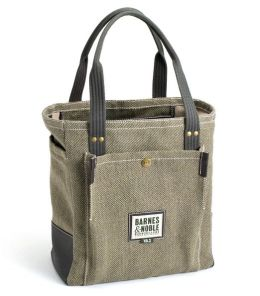 Barnes & Noble Book Bag -Beige & Brown Basketweave Fabric (12.75 x 14 x 5.75)