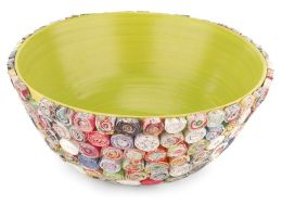Recycled Paper Spirals Bowl - Green