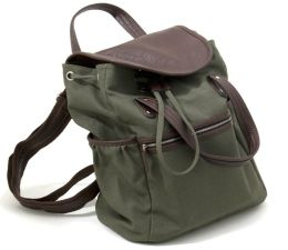 Olive Green Canvas Backpack with Double Leather Look Handles (16