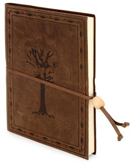 Tree Embossed Brown Leather Lined Journal with Bead 6x8